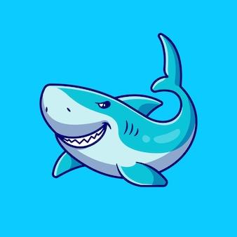 Desenho animado de natação de tubarão fofinho