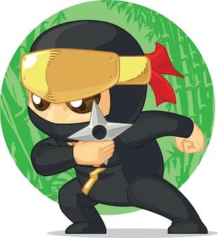Desenho animado de ninja segurando shuriken