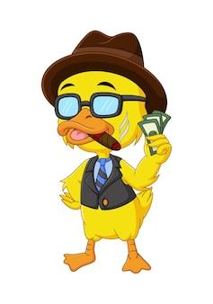 Desenho animado de pato rico segurando dinheiro