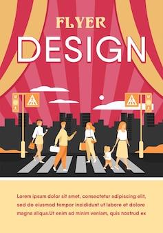Desenho animado de pedestres caminhando pela faixa de pedestres isolado plana modelo de folheto