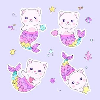 Desenho animado de pequena sereia de gato fofo mergulhando no fundo do mar