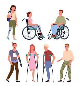Desenho animado de personagens deficientes físicos e sorridentes, em pé em uma fila, sentados em uma cadeira de rodas