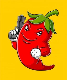 Desenho animado de pimentão segurando uma arma