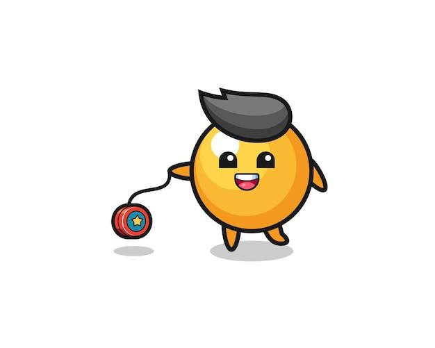 Desenho animado de pingue-pongue fofo tocando ioiô, design fofo