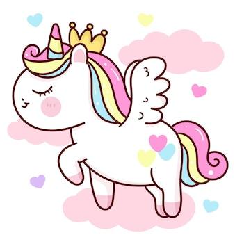 Desenho animado de princesa unicórnio pégaso em animal kawaii da nuvem