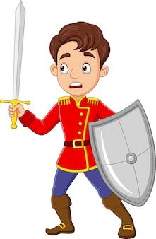Desenho animado de príncipe segurando espada e escudo