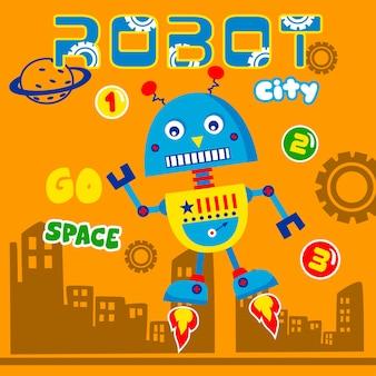 Desenho animado de robo cidade inteligente