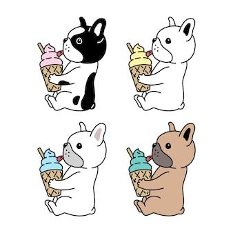 Desenho animado de sorvete de cachorro buldogue francês
