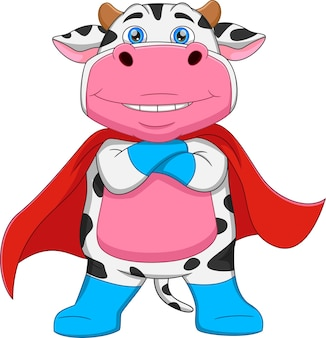 Desenho animado de super-herói de vaca