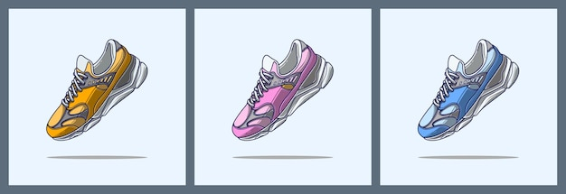 Desenho animado de tênis esportivos coloridos