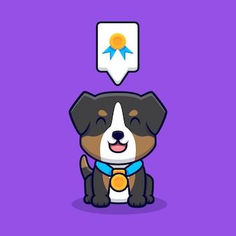 Desenho animado de um cão pastor australiano fofo