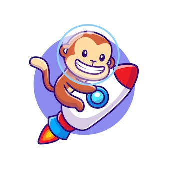 Desenho animado de um foguete de macaco fofo