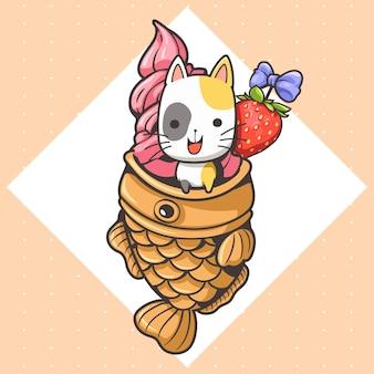Desenho animado de um gato fofo e sorvete de taiyaki 2