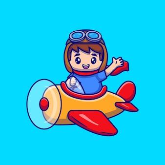 Desenho animado de um menino bonito dirigindo um avião