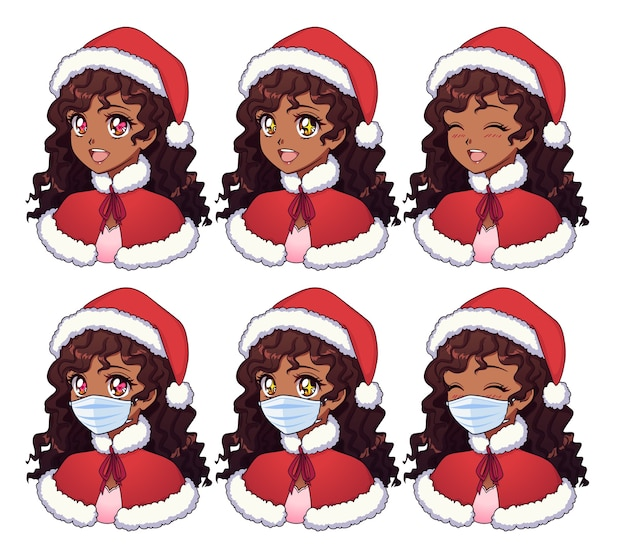 Desenho animado de uma garota africana usando fantasia de natal e máscara médica