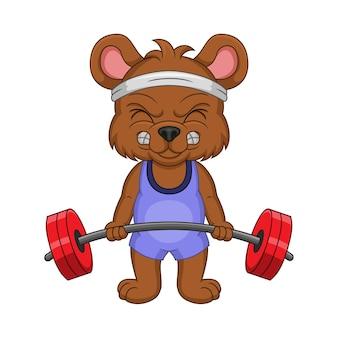 Desenho animado de ursinho segurando uma barra