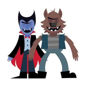 Desenho animado de vampiro e lobisomem de halloween, feriado feliz e assustador