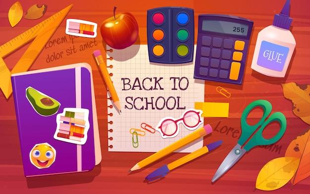 Desenho animado de volta ao fundo da escola