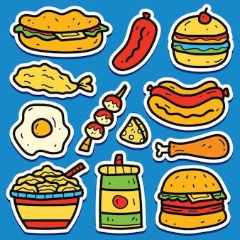 Desenho animado desenhado à mão autocolante com comida doodle