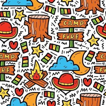 Desenho animado desenhado à mão campista fofo doodle padrão