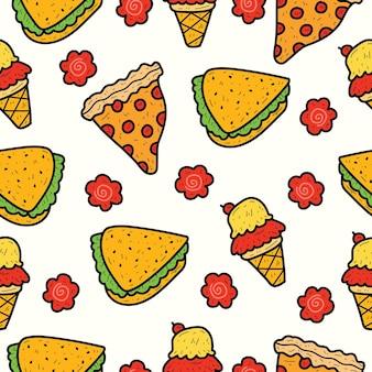 Desenho animado desenhado à mão design de padrão de doodle de comida
