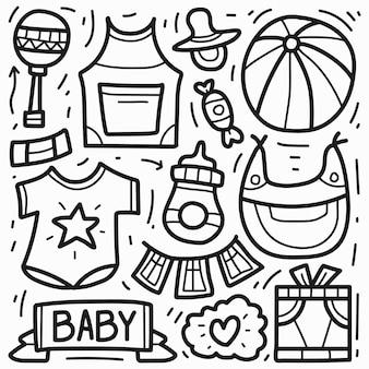 Desenho animado desenhado à mão doodle de bebê