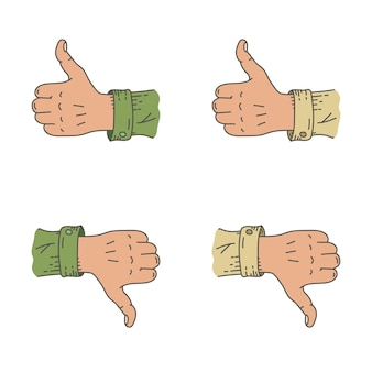 Desenho animado desenhado com a mão polegares para cima e para baixo