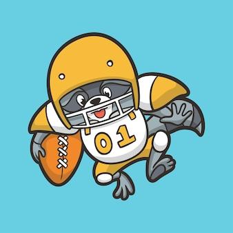Desenho animado desenho animal guaxinim jogando beisebol com logotipo do mascote bonito