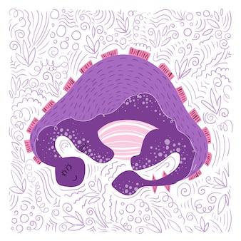 Desenho animado dino em estilo escandinavo