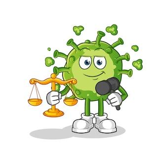 Desenho animado do advogado de vírus