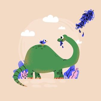 Desenho animado do bebê dinossauro ilustrado