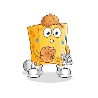 Desenho animado do catcher do baseball do queijo. mascote dos desenhos animados