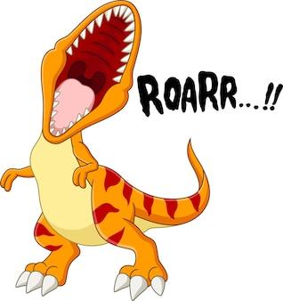 Desenho animado do dinossauro tiranossauro rex rugindo
