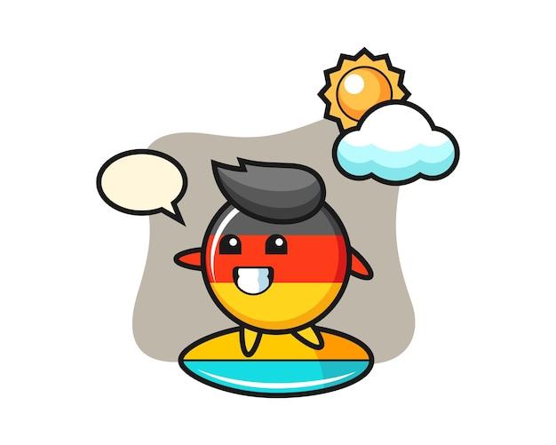 Desenho animado do distintivo da bandeira da alemanha faça surf na praia