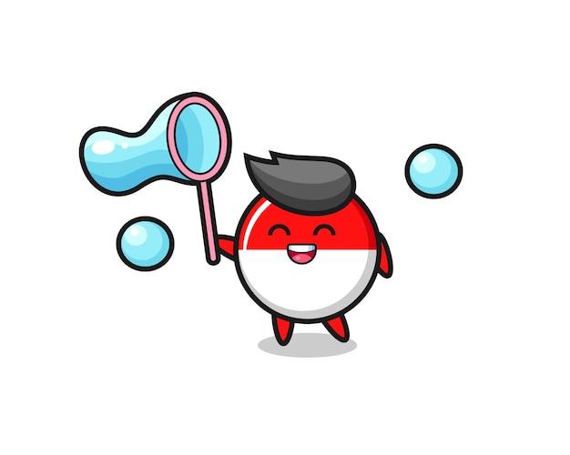 Desenho animado do distintivo da bandeira da indonésia feliz jogando bolha de sabão, design de estilo fofo para camiseta, adesivo, elemento de logotipo