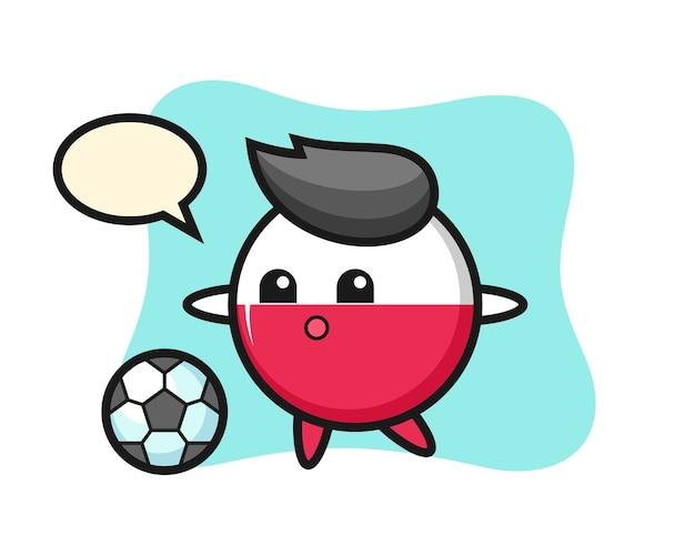 Desenho animado do distintivo da bandeira da polônia está jogando futebol