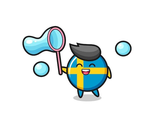 Desenho animado do distintivo da bandeira da suécia feliz jogando bolha de sabão, design de estilo fofo para camiseta, adesivo, elemento de logotipo