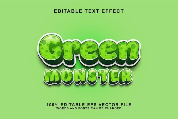 Desenho animado do estilo do efeito de texto editável do monstro verde