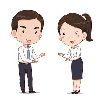 Desenho animado do homem de negócios e mulher em poses de boas-vindas.