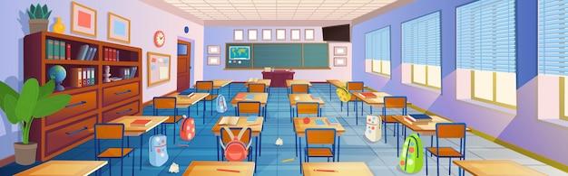 Desenho animado do interior da sala de aula