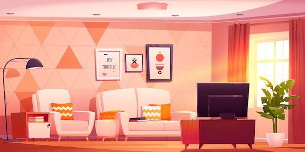 Desenho animado do interior da sala de estar