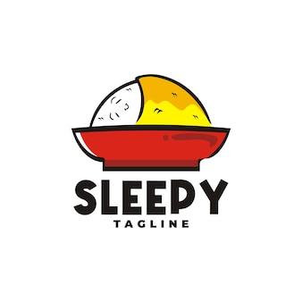 Desenho animado do logotipo de ovo de arroz engraçado, bom para logotipo de restaurante de café ou qualquer negócio relacionado a alimentos