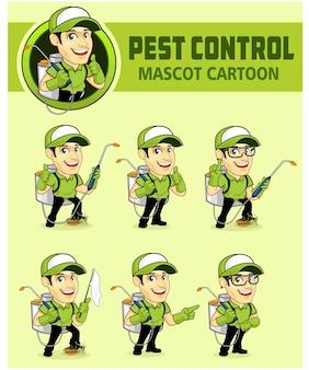 Desenho animado do mascote de controle de pragas Vetor Premium