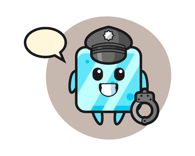 Desenho animado do mascote do cubo de gelo como policial