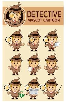 Desenho animado do mascote do detetive infantil Vetor Premium