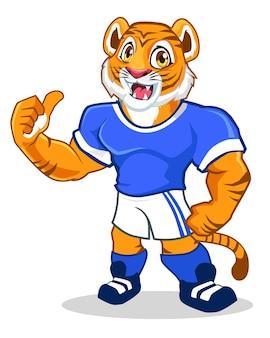 Desenho animado do mascote do esporte de tigre em vetor