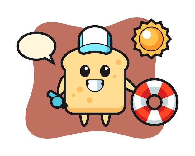 Desenho animado do mascote do pão como guarda de praia