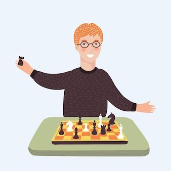 Desenho animado do menino engraçado inteligente em vidro jogando xadrez.