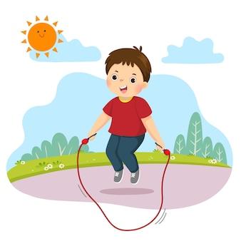Desenho animado do menino pulando corda no parque