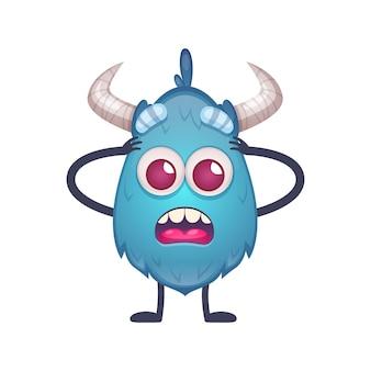 Desenho animado do monstro azul assustado com ilustração de olhos redondos